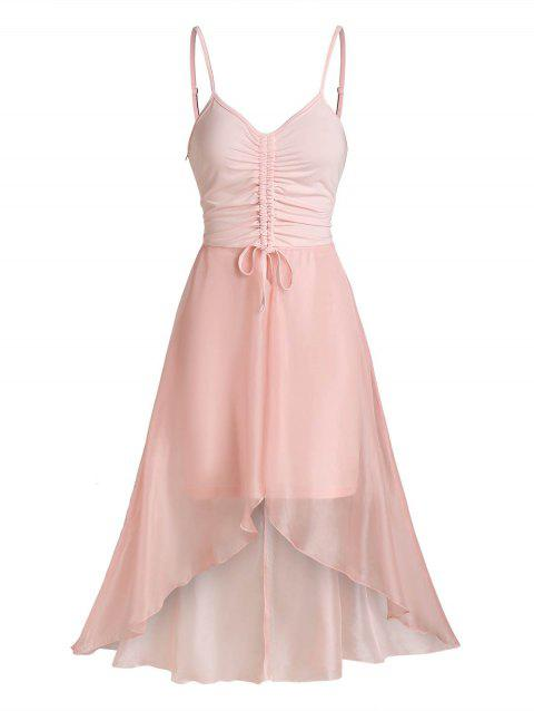 Chiffon Insert Cinched High Low Dress