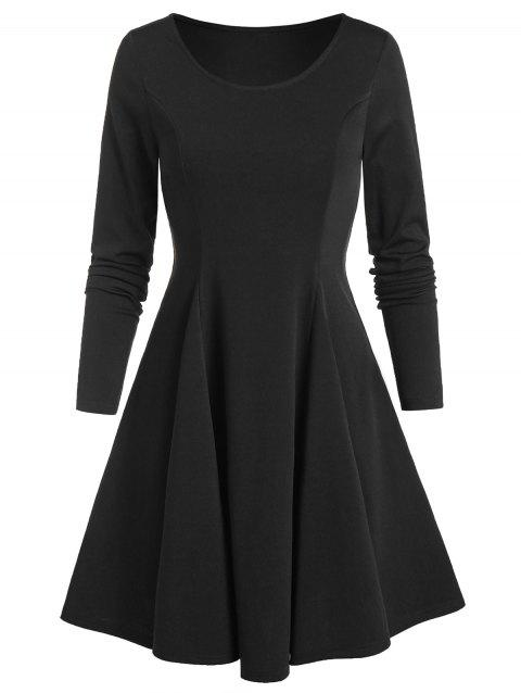 Long Sleeve Fit and Flare Plain Dress