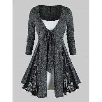 Plus Size Tie Front Lace Insert Cardigan With Cami Top Set