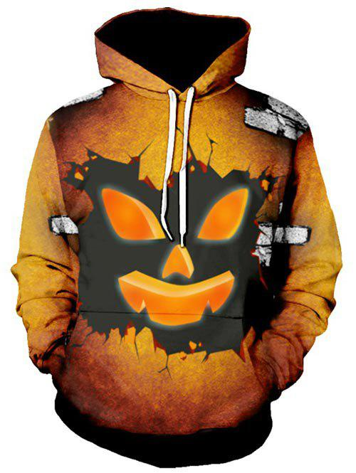 Halloween Ghost Face Graphic Pullover Drawstring Hoodie - CHOCOLATE 2XL