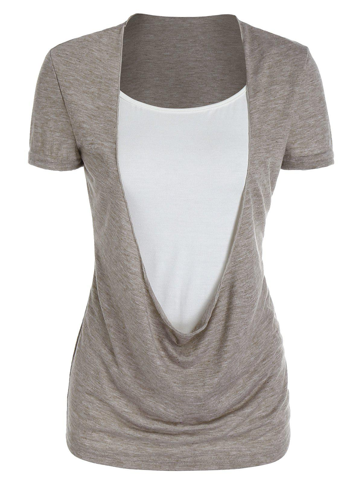 Heathered Draped Faux Twinset T-shirt - COFFEE 3XL