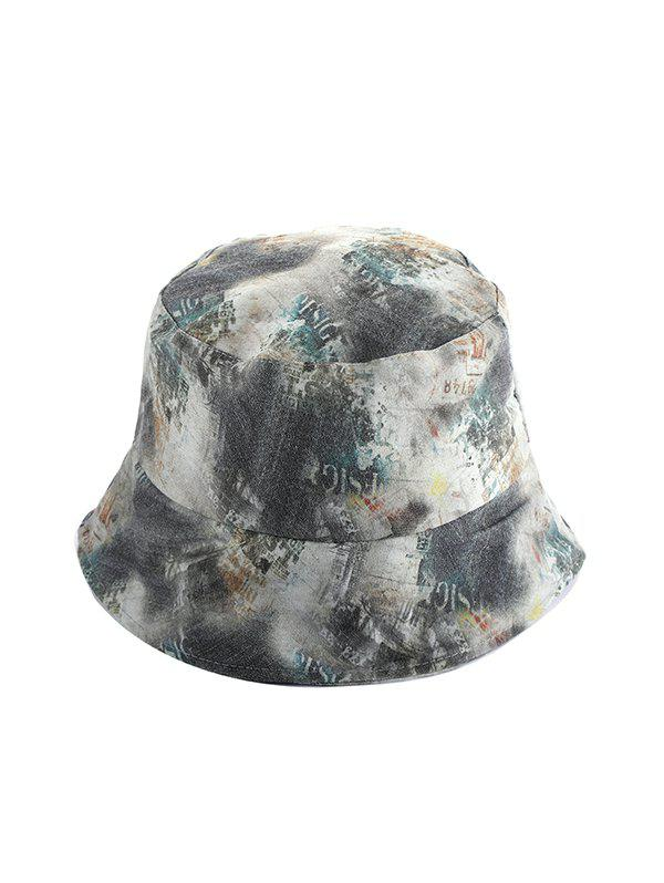 Washed Denim Printed Bucket Hat - multicolor B