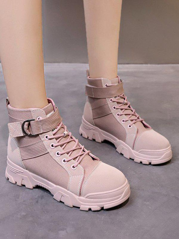Casual Buckle Strap Lace Up Ankle Boots - LIGHT PINK EU 39