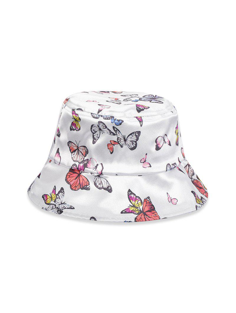 Butterfly Pattern Glossy Bucket Hat - WHITE