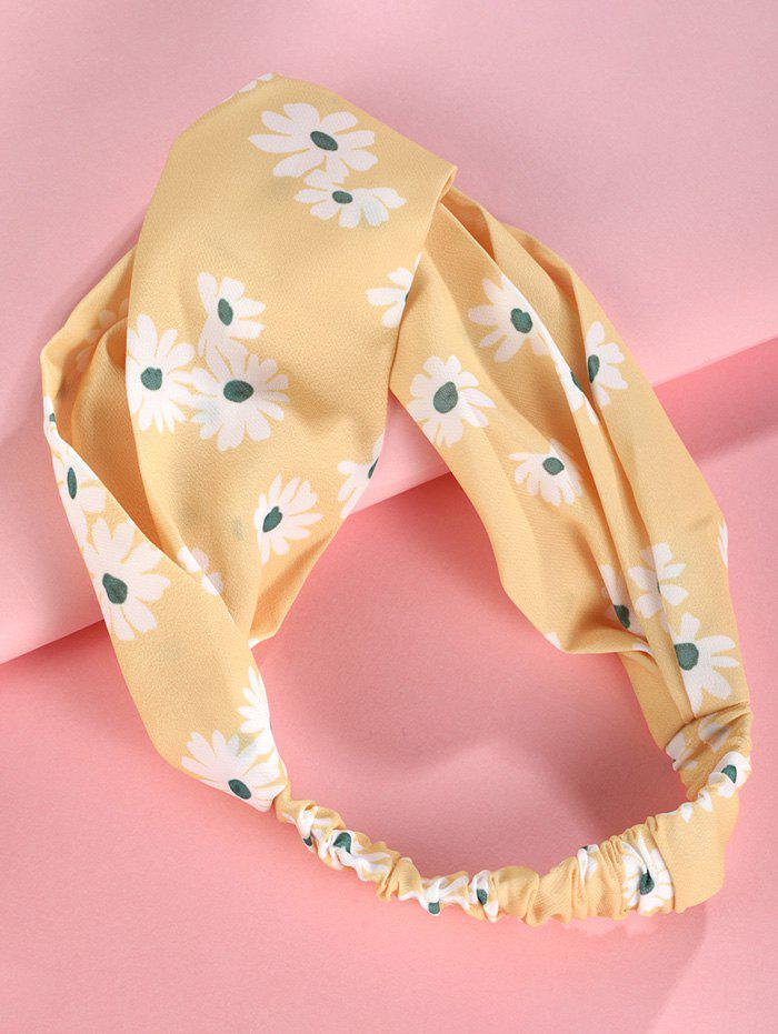 Flower Printed Elastic Wide Headband - YELLOW