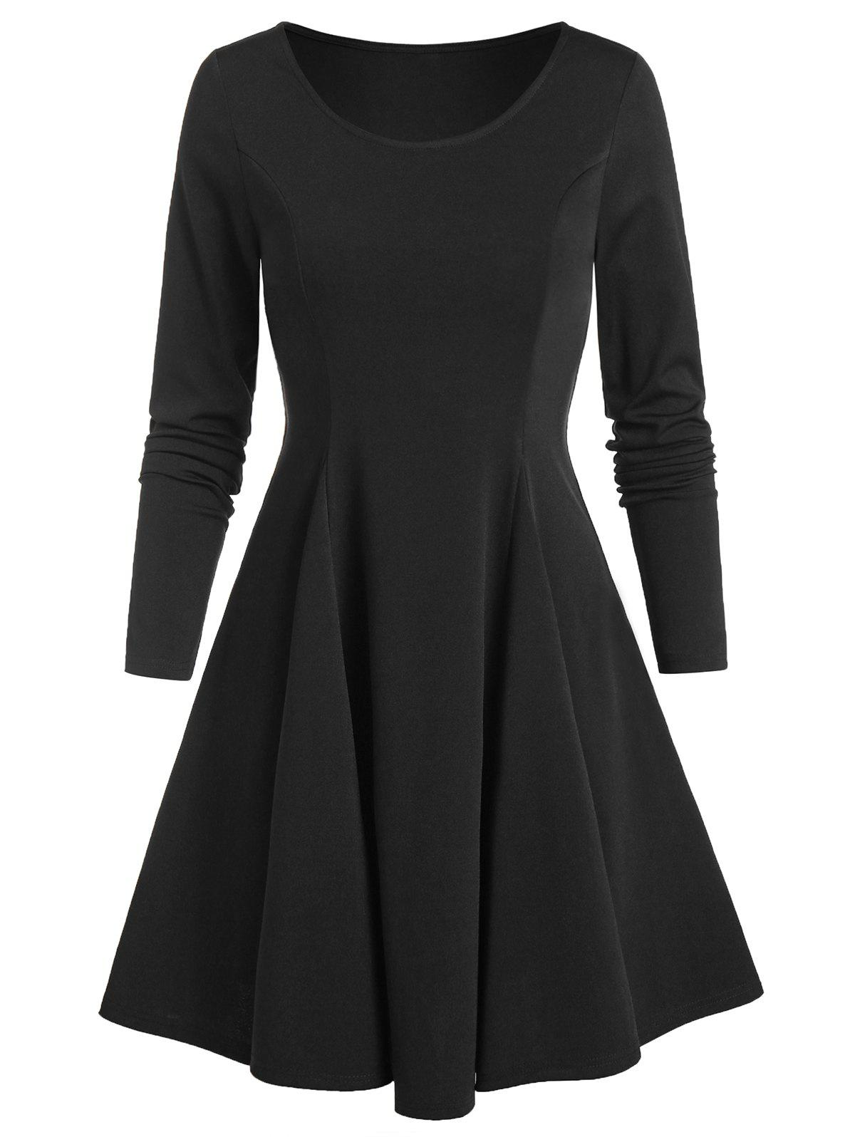 Long Sleeve Fit and Flare Plain Dress - BLACK L