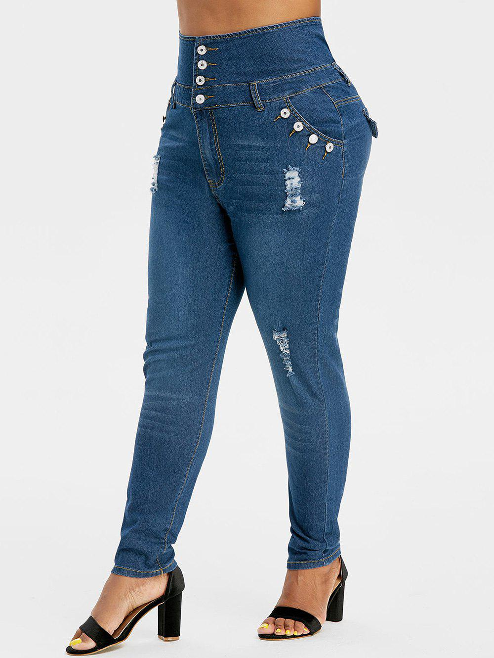 Dark Wash Button Fly Distressed Plus Size Skinny Jeans - DEEP BLUE 5X