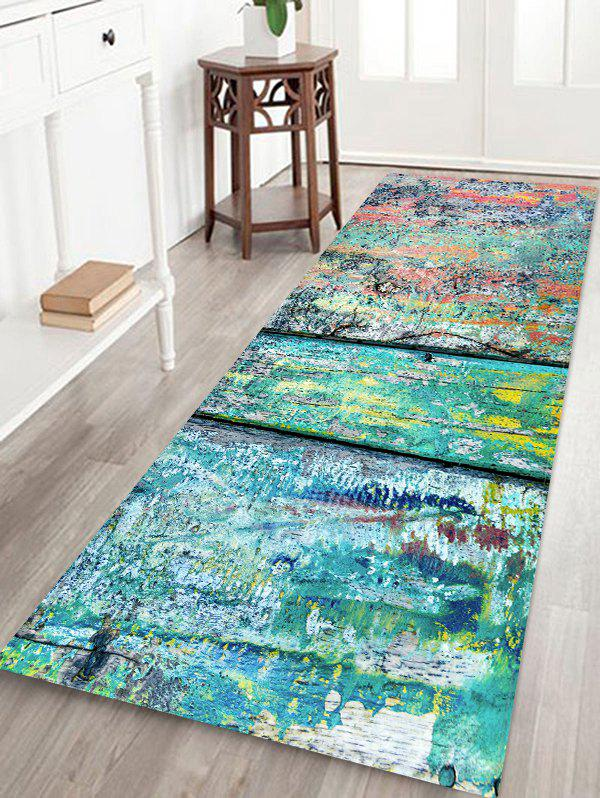 Colored Wood Grain Pattern Floor Mat - multicolor W24 X L71 INCH