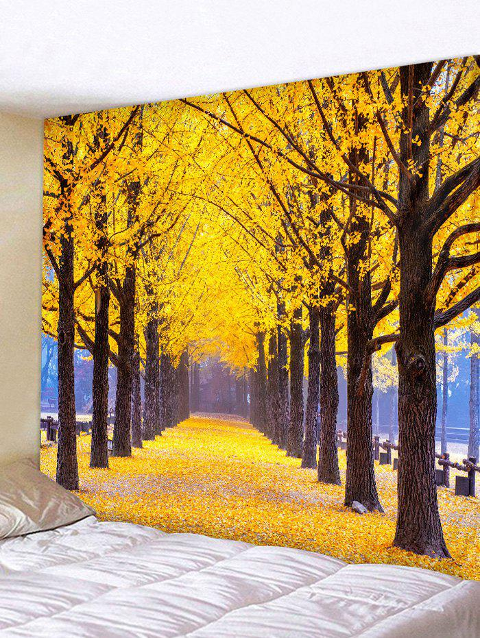 Fall Forest Path Pattern Wall Tapestry - multicolor W91 X L71 INCH