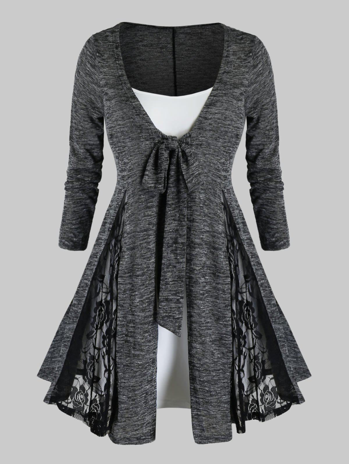 Plus Size Tie Front Lace Insert Cardigan With Cami Top Set - ASH GRAY 1X