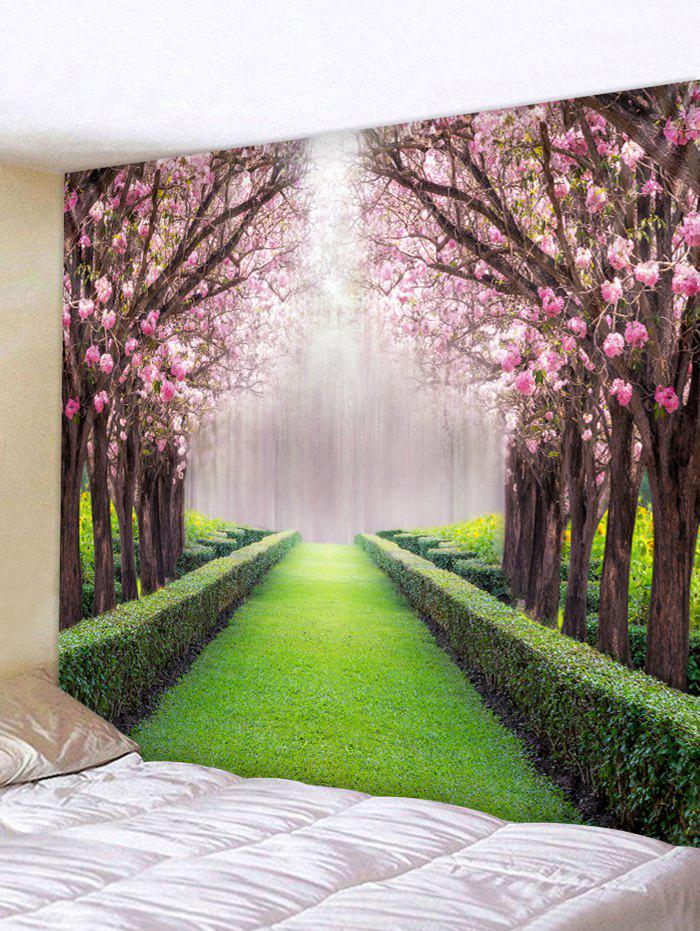Flower Tree Grass Path Pattern Wall Tapestry - multicolor W91 X L71 INCH
