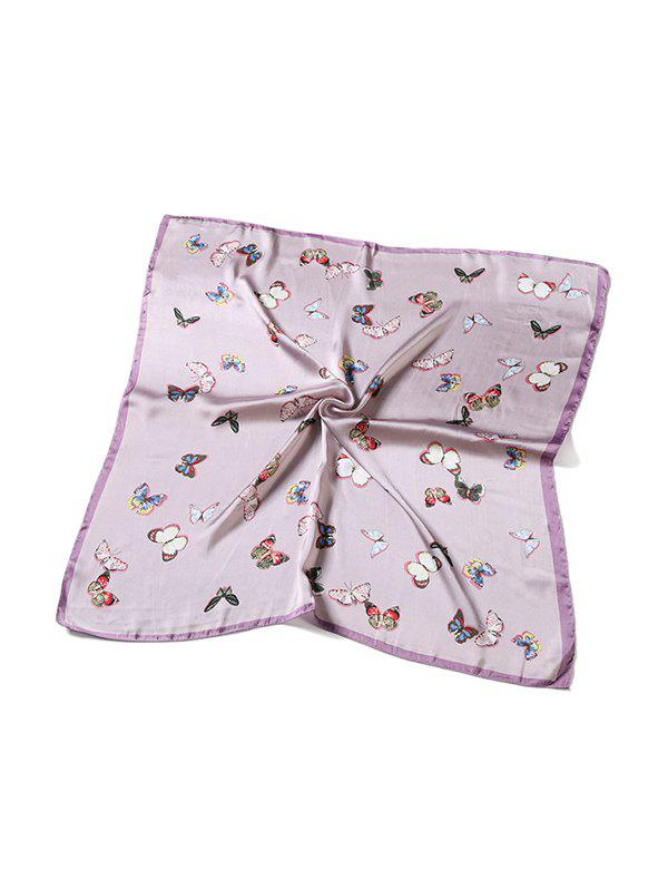 Butterfly Print Satin Square Scarf - PINK