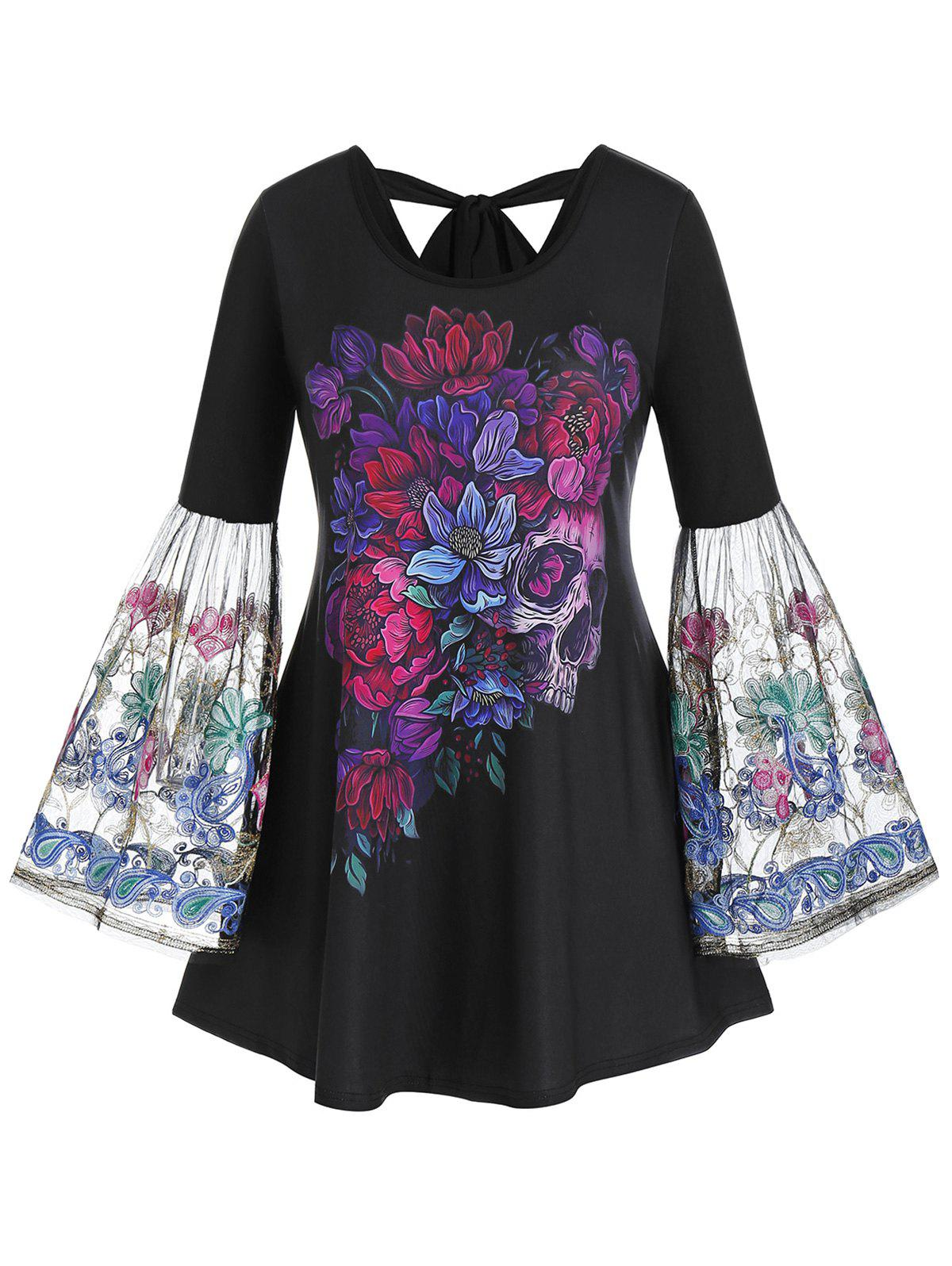 Plus Size Flower Skull Golden Embroidered Bell Sleeve Tee - BLACK 4X