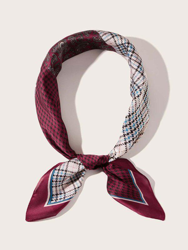 Houndstooth Plaid Paisley Patchwork Stain Square Scarf - RED WINE