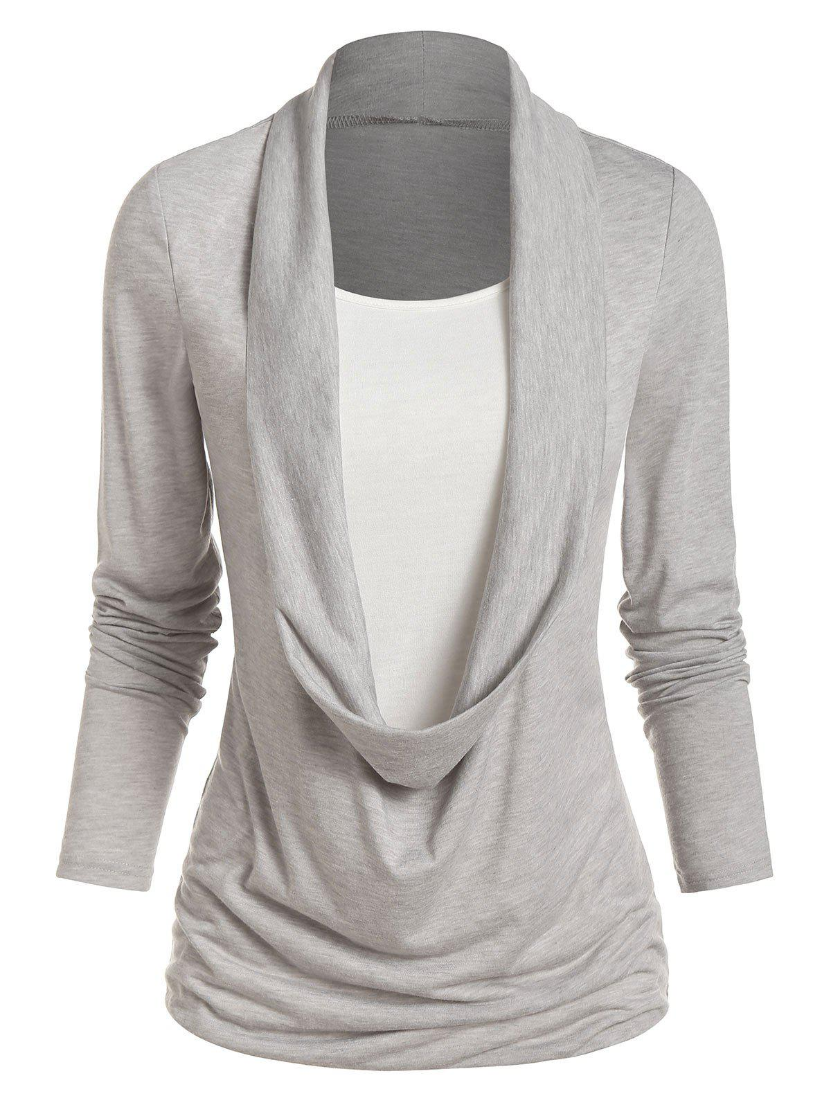 Long Sleeve Heathered Faux Twinset Casual T-shirt - GRAY GOOSE XL