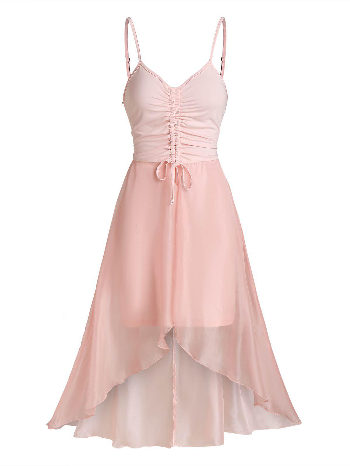 Chiffon Insert Cinched High Low Dress - LIGHT PINK 3XL