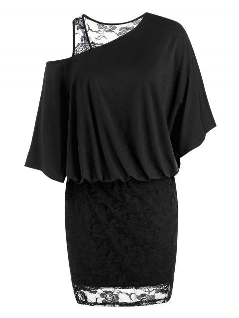 Plus Size Lace Skew Collar Blouson Dress