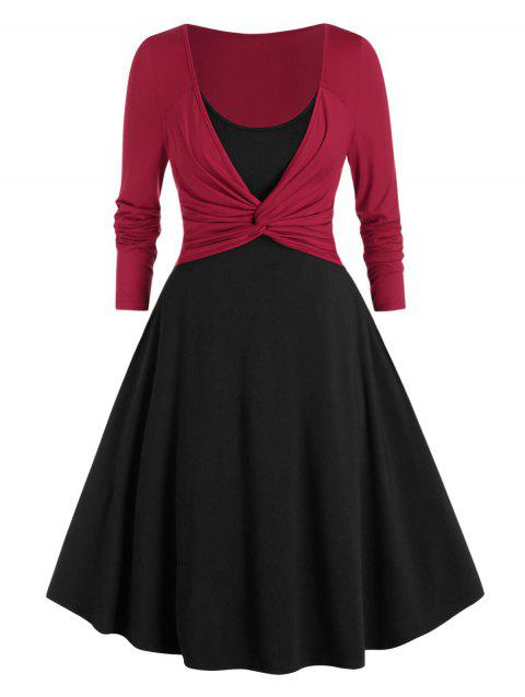 Plus Size Front Twist Twofer Dress