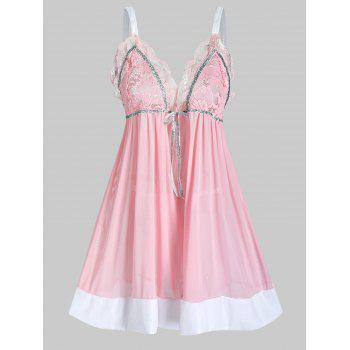 Plus Size Lace Sheer Scalloped Lingerie Cami Babydoll
