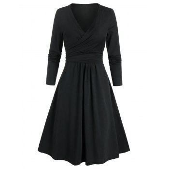 Long Sleeve Wrap Knotted Dress