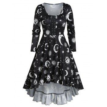 Moon Print Lace-up High Low Gothic Dress