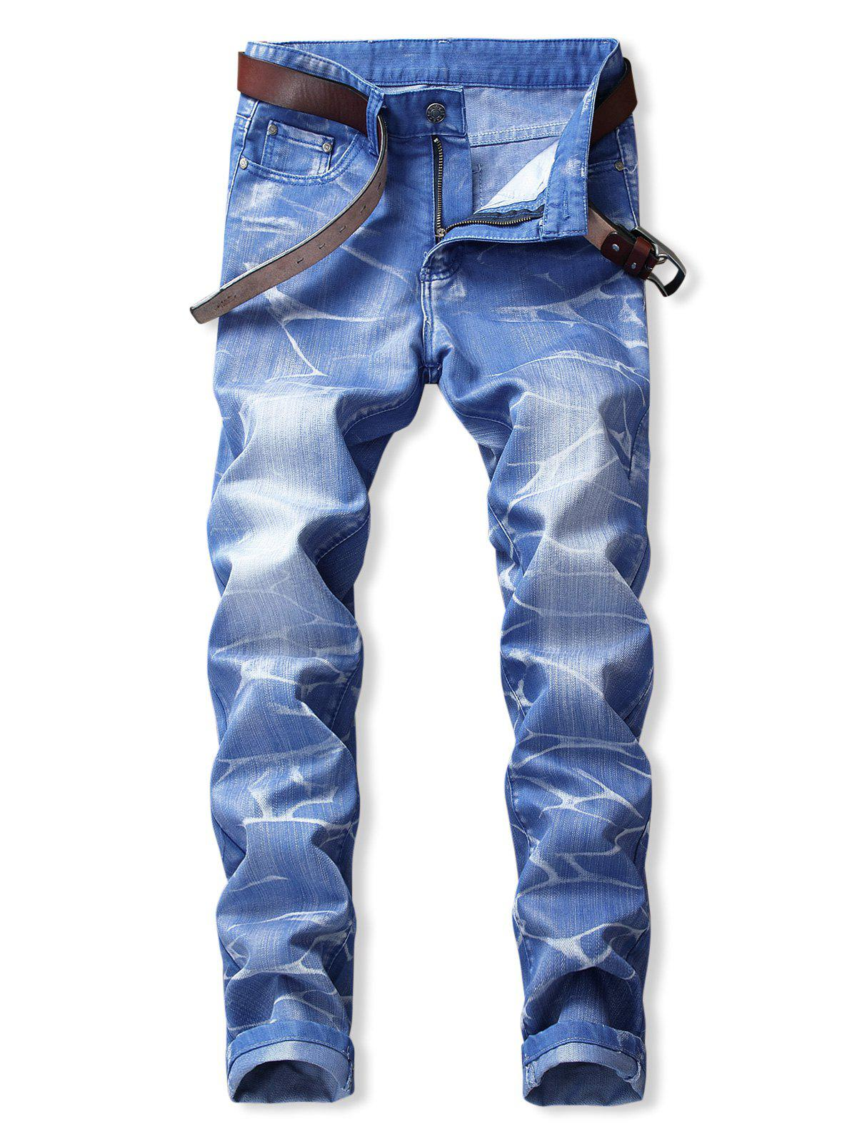 Acid Wash Zipper Fly Straight Denim Pants - BLUE 40