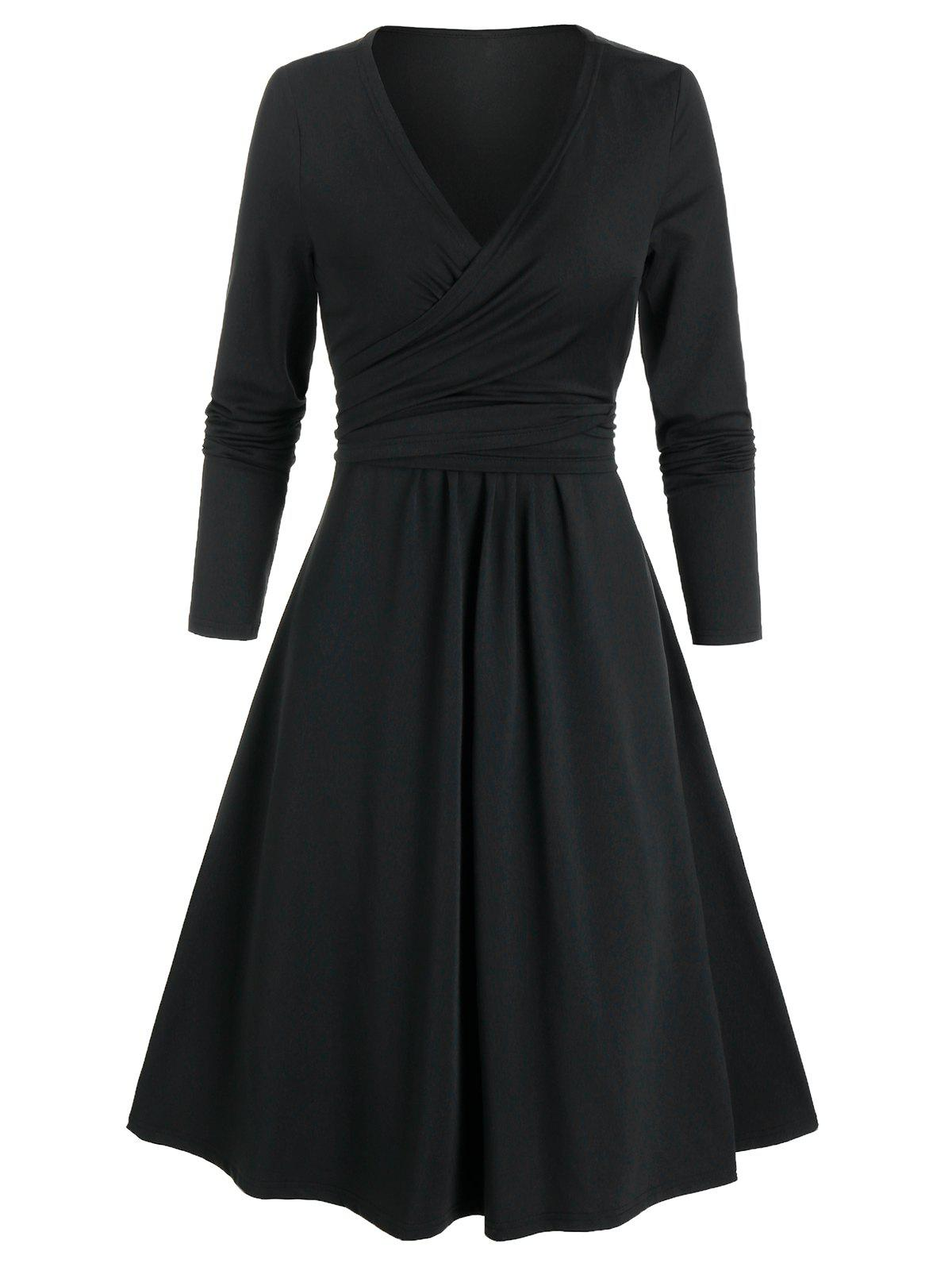 Long Sleeve Wrap Knotted Dress - BLACK L