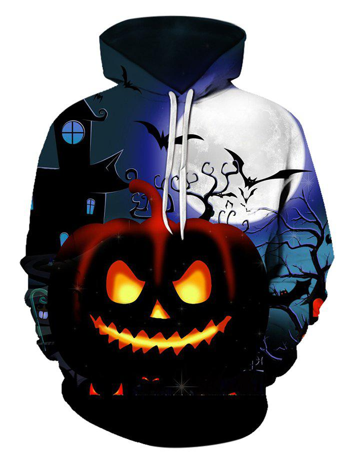 Halloween Night Pumpkin Pattern Front Pocket Pullover Hoodie - multicolor XL
