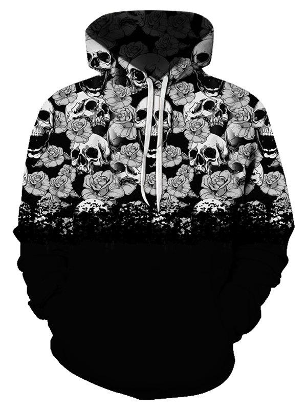 Digital Floral Skull Print Front Pocket Drawstring Hoodie - multicolor XL