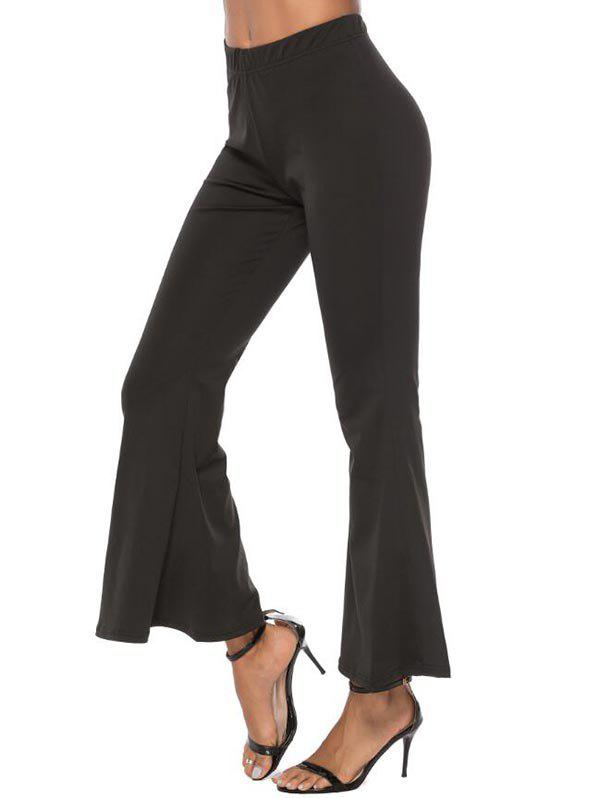 High Waisted Plain Flared Pants - BLACK XL