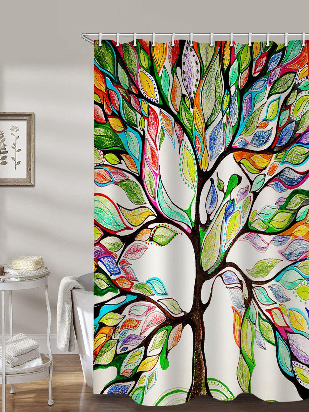 Colorful Life Tree Print Waterproof Bathroom Shower Curtain - multicolor W71 X L71 INCH