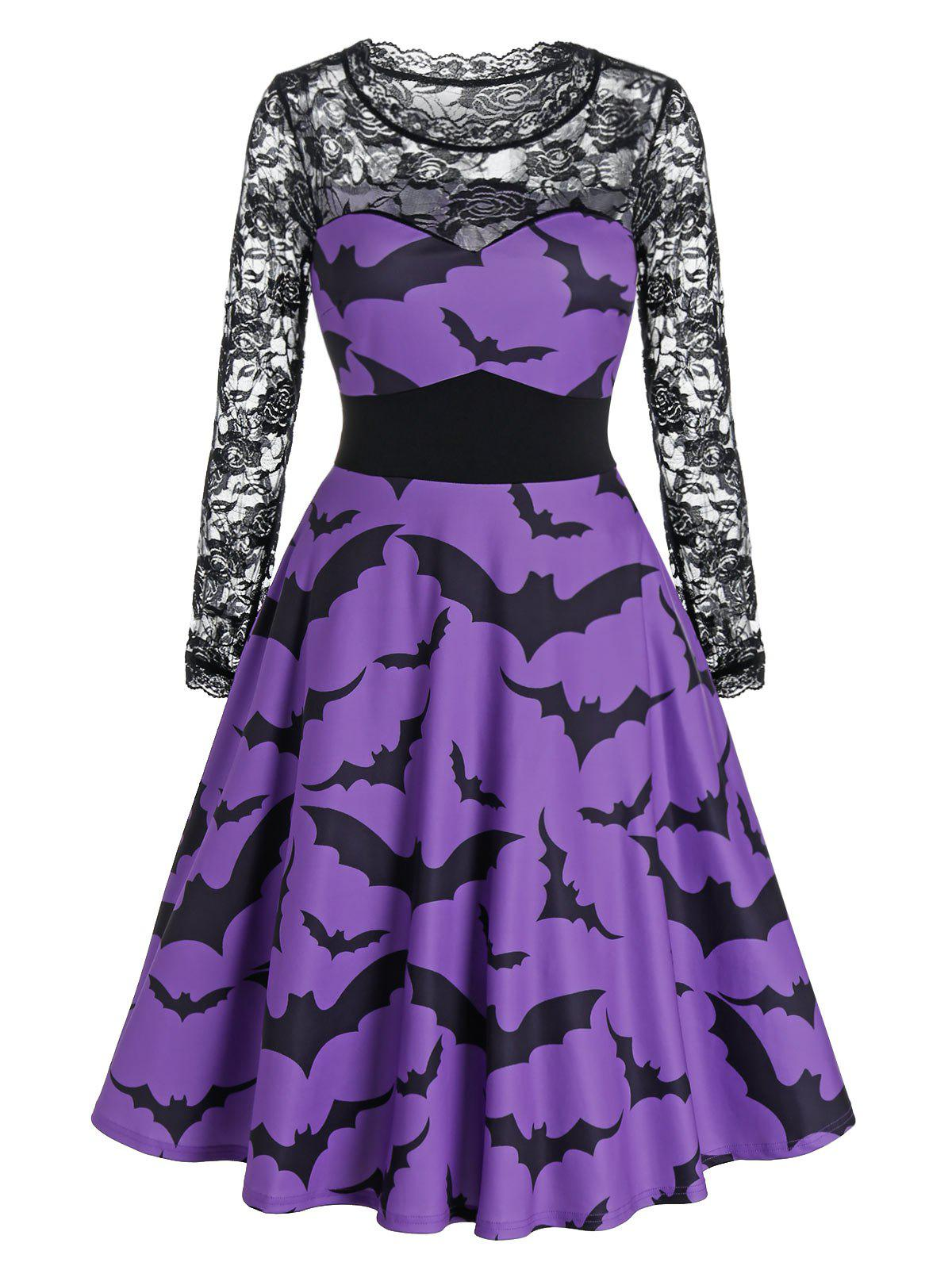 Halloween Bat Print Sheer Lace Panel High Waist Dress - PURPLE IRIS L