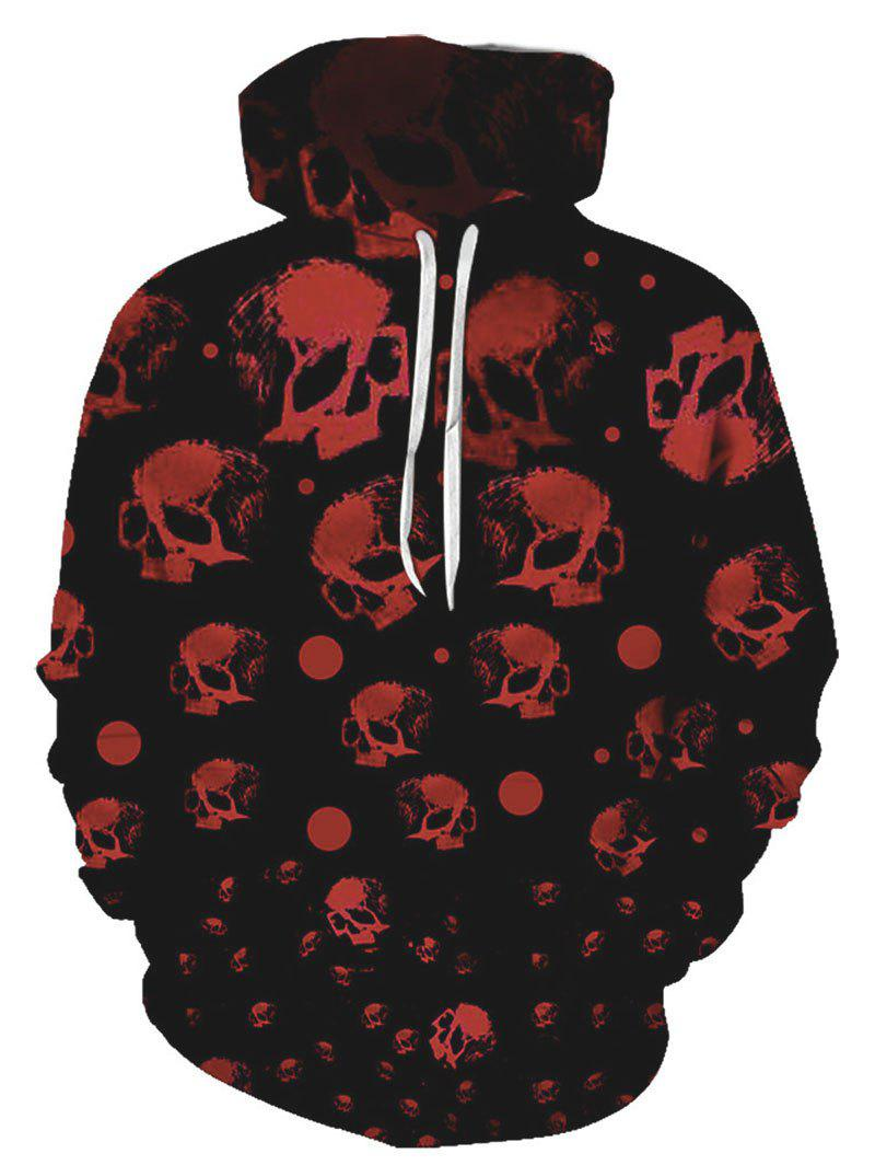 Halloween Skull Print Drawstring Pouch Pocket Hoodie - multicolor L