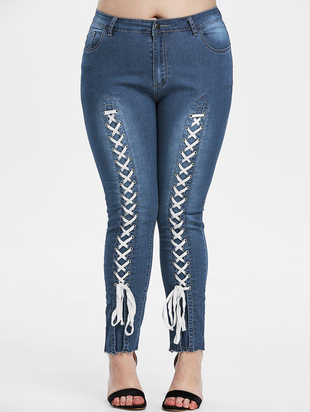 Lace-up Raw Hem Plus Size Skinny Jeans - DEEP BLUE 2X