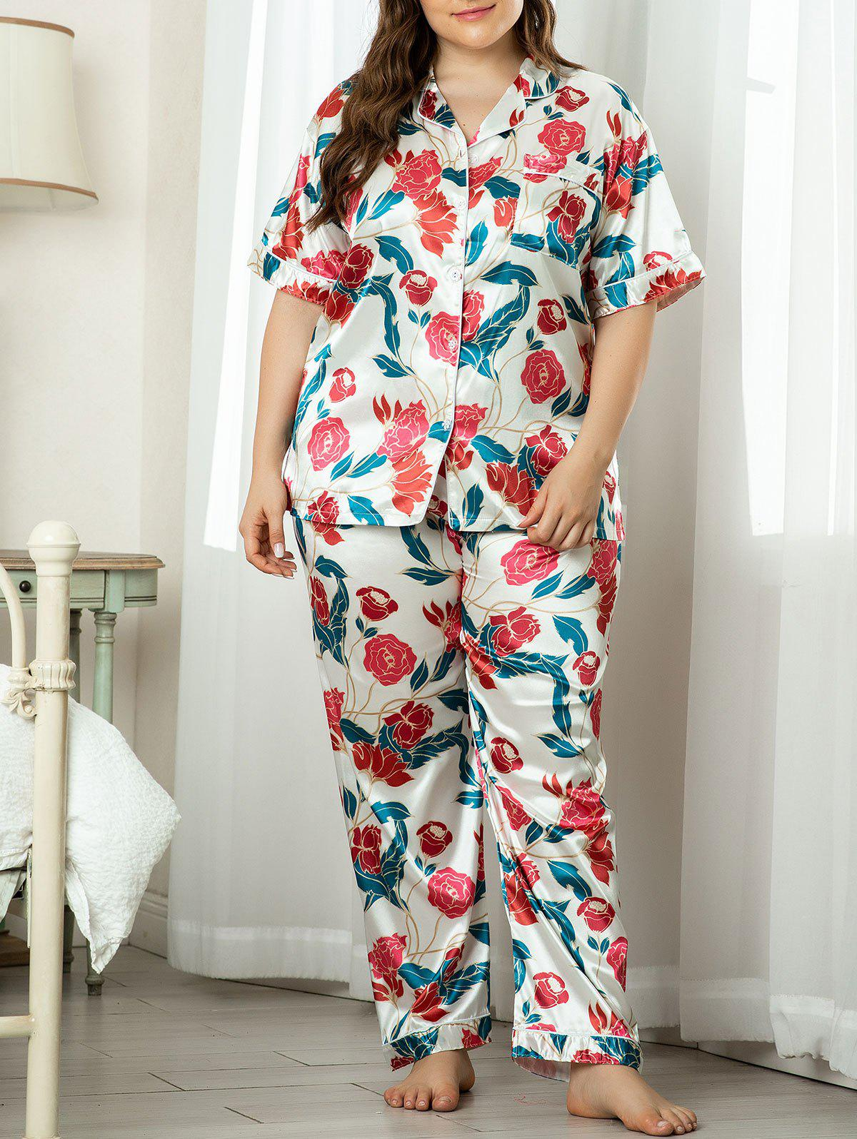 Plus Size Satin Front Pocket Floral Pajama Set - multicolor 4XL