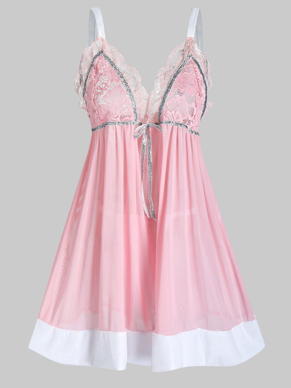 Plus Size Lace Sheer Scalloped Lingerie Cami Babydoll - LIGHT PINK 5X