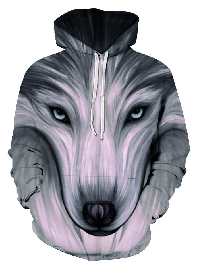 Front Pocket Wolf Graphic Drawstring Pullover Hoodie - multicolor L