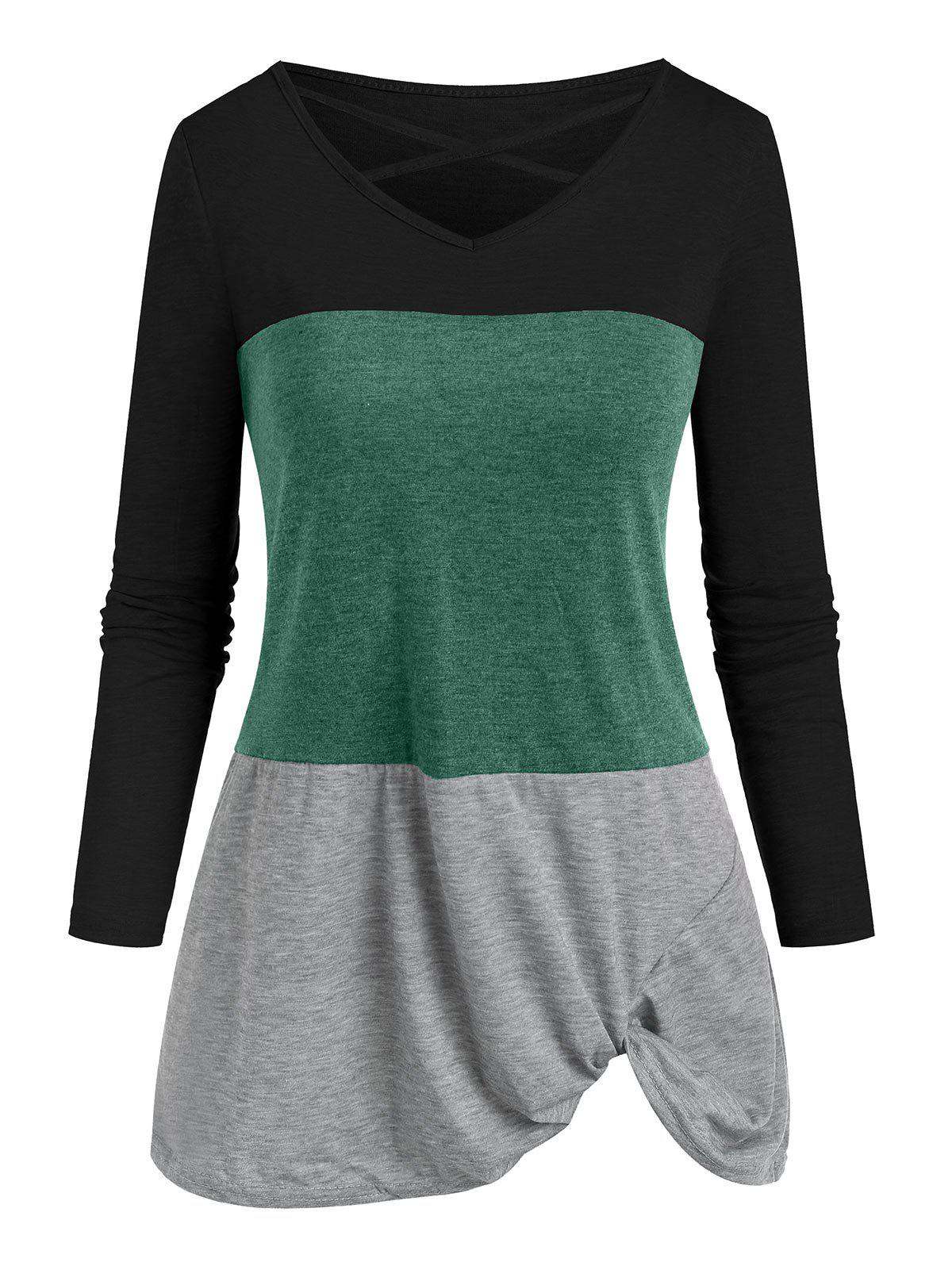Criss Cross Twisted Colorblock T-shirt - DEEP GREEN 2XL
