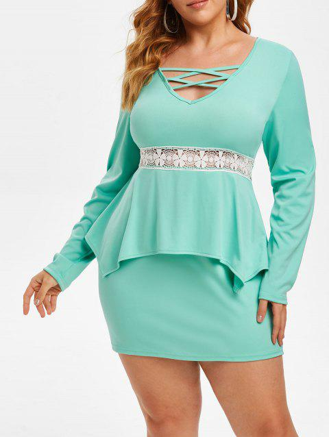Lattice Lace Panel Plus Size Bodycon Peplum Dress