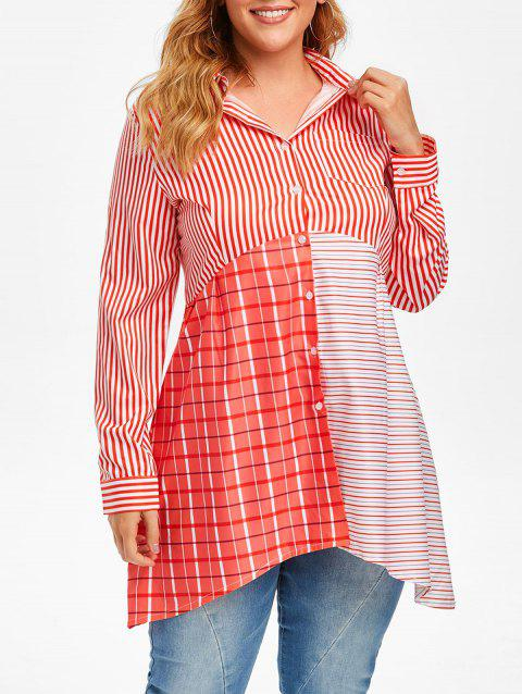 Plus Size Striped Cut and Sew Shirt