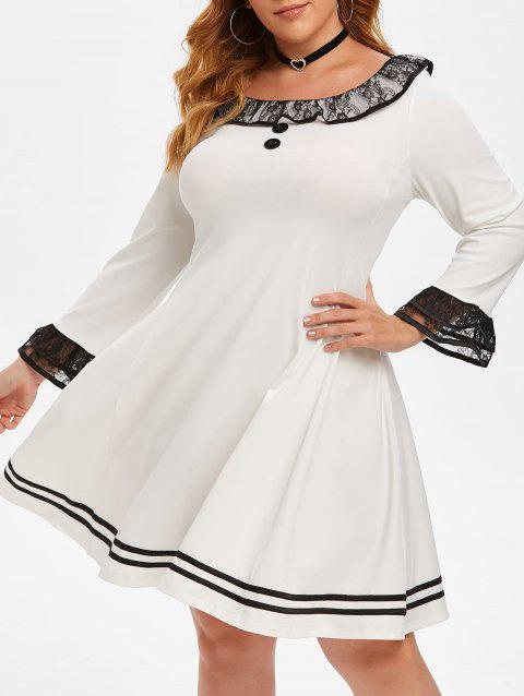 Lace Panel Flounces Tiered Sleeve Plus Size Dress