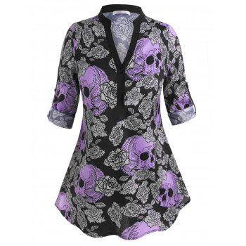 Skull Floral Two Buttoned Tab Sleeve Halloween Plus Size Blouse
