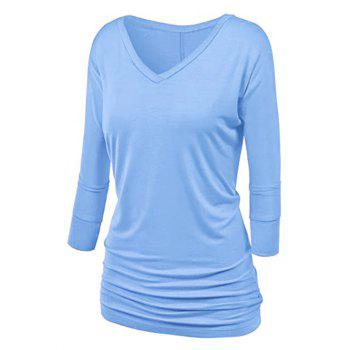 Plus Size Ruched Batwing Sleeve T Shirt