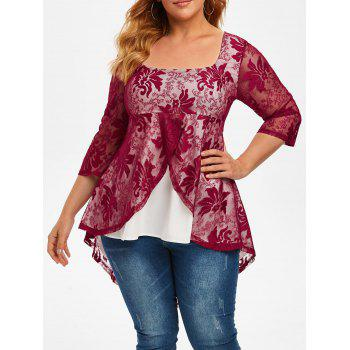 Plus Size Lace Overlay High Low Tail Blouse