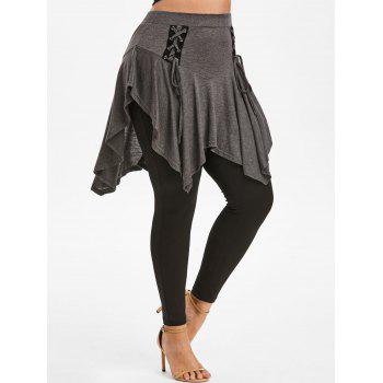 Plus Size Lace Up Skirted Pants
