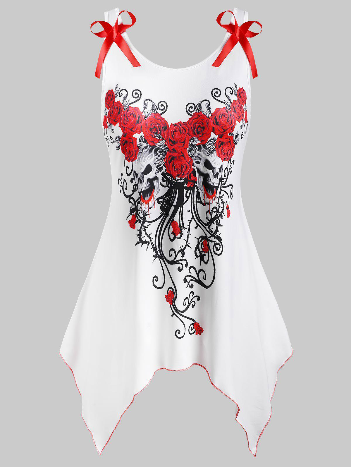 Floral Skull Paint Splatter Bowknot Handkerchief Halloween Plus Size Tank Top - WHITE 5X
