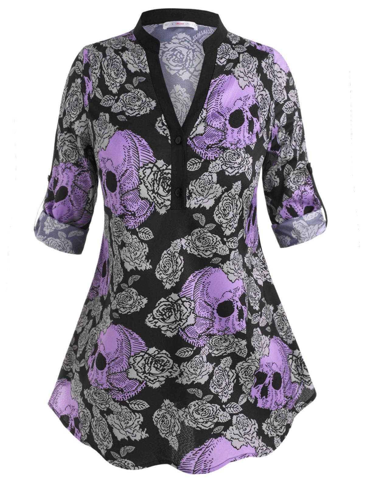 Skull Floral Two Buttoned Tab Sleeve Halloween Plus Size Blouse - PURPLE L