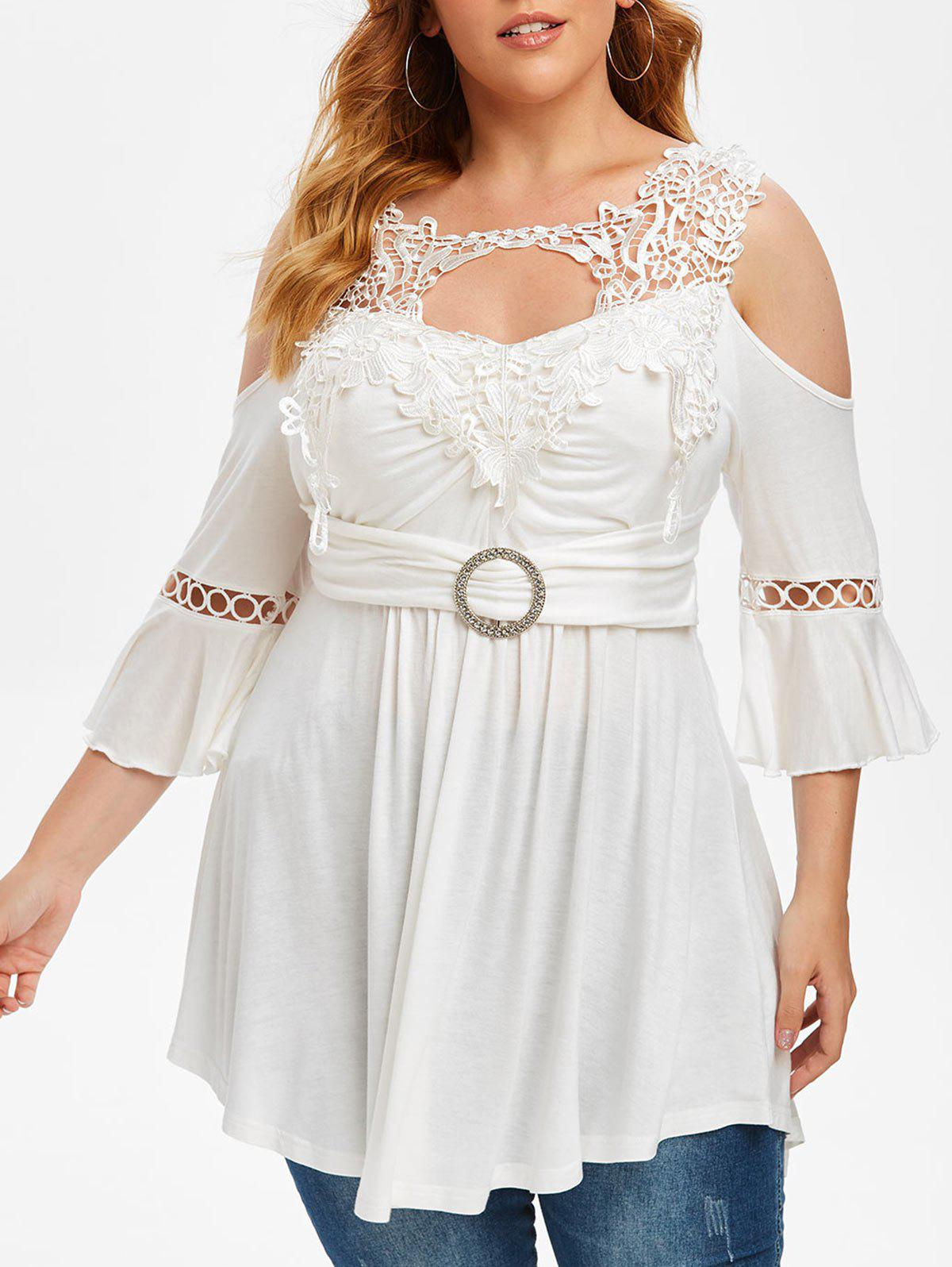 Plus Size Cold Shoulder Lace Crochet Bell Sleeve T Shirt - WHITE 1X