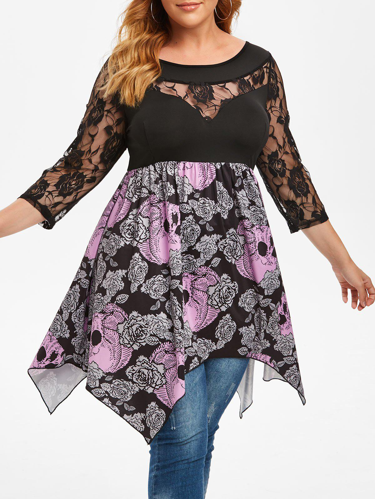Plus Size Flower Skull Lace Insert Handkerchief Tee - BLACK 2X