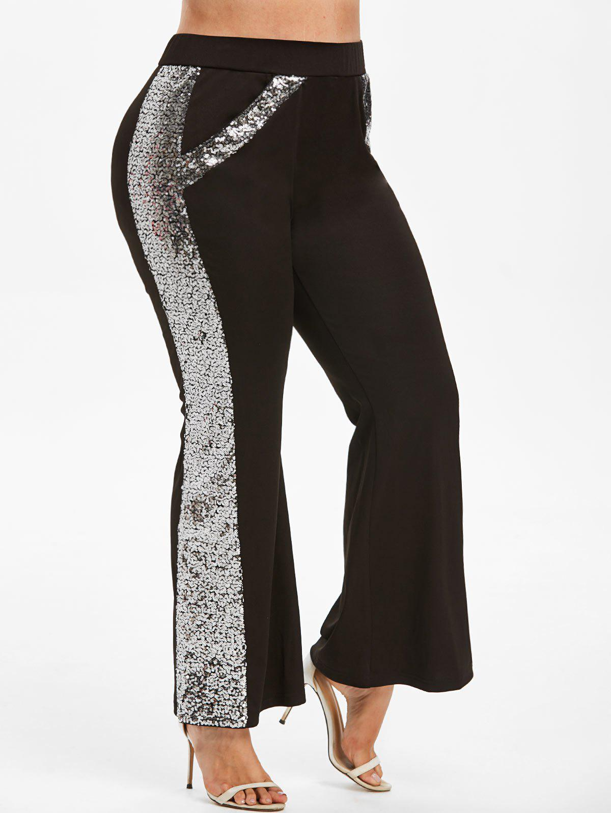 Plus Size Sparkle Sequin Bootcut Pants - BLACK L